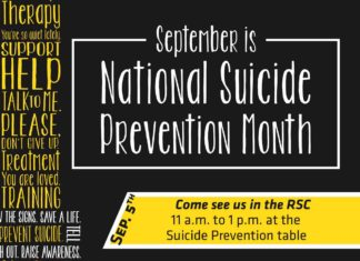 September is National Suicide Prevention Month Come see us in the RSC 11 a.m. to 1 p.m. at the Suicide Prevention table WSUWeSupportU Day Sport your suspenders in solidarity! Mini Wellness Fair 11 a.m. to 1 p.m. on the North RSC Patio Sep. 13th Sep. 5th Sep. 7th #WSUWeSupportU Sport Your Suspenders on WSUWeSupportU Day! September 7th Wear your WSU WeSupportU Suspenders t-shirt in support of suicide prevention and solidarity with those who have been affected by suicide, and join us on the RSC North lawn at Xx x.m. for a photo! #WSUWeSupportU