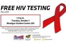 FREE HIV Testing on Tuesday October 1 from 1 to 4 p.m. at the Rhatigan Student Center 203.