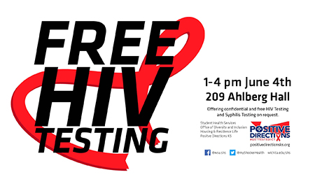FREE HIV testing at 209 Ahlberg Hall on June 4 from 1 to 4 pm