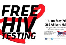 FREE HIV Testing May 7, 2019 with Student Health