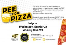 Pee for Pizza on Wednesday, October 23 from 1 to 4 p.m.