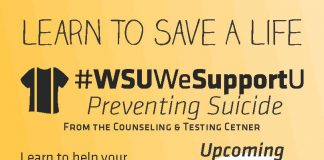 Suicide Prevention Training. Learn to help your community with the WSU Counseling and Testing Center's FREE preventing suicide training. This hour long training will prepare you to recognize the warning signs and respond appropriately to at-risk individuals. Upcoming trainings are Thursday, January 24 from 11 a.m. to 12 p.m., Friday, February 8 from 10:30 a.m. to 11:30 a.m. and Thursday, March 7 from 11 a.m. to 12 p.m. Faculty and Staff can sign up through the myTrainings portal in their myWSU and students can through wichita.edu/SuicidePrevention.