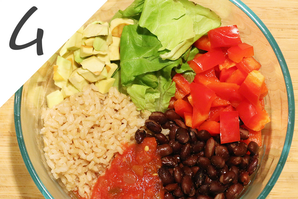 4. Combine warm ingredients (black beans and rice) together with lettuce, pepper, avocado, and salsa.