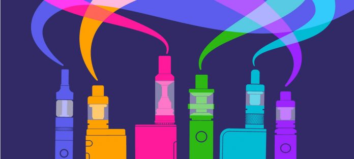 Colorful illustration of vaping devices