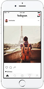 Cell phone with instagram- guy at Eiffel Tower