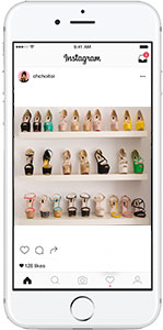 Cell phone with instagram- closet full of shoes