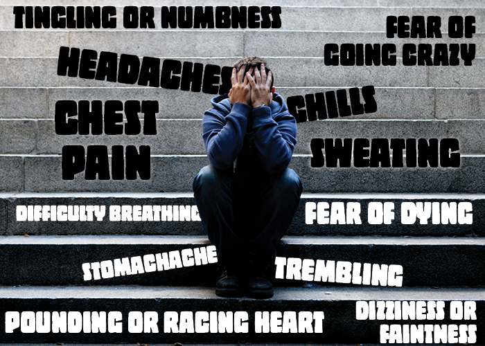 • headaches • chest pain • difficulty breathing • stomachache • pounding or racing heart • sweating • chills • trembling • dizziness or faintness • tingling or numbness • fear of going crazy • fear of dying