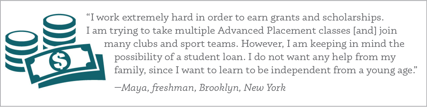"""I work extremely hard in order to earn grants and scholarships. I am trying to take multiple Advanced Placement classes [and] join many clubs and sport teams. However, I am keeping in mind the possibility of a student loan. I do not want any help from my family, since I want to learn to be independent from a young age."" —Maya, freshman, Brooklyn, New York"