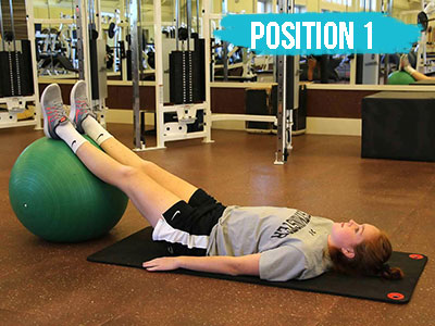 Hamstring curl on a physioball position 1
