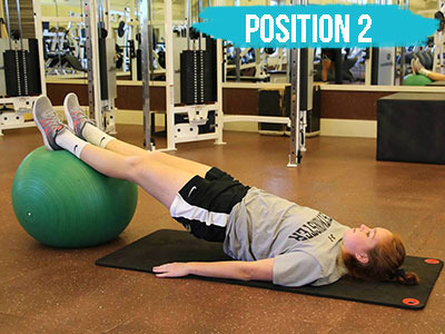 Hamstring curl on a physioball position 2