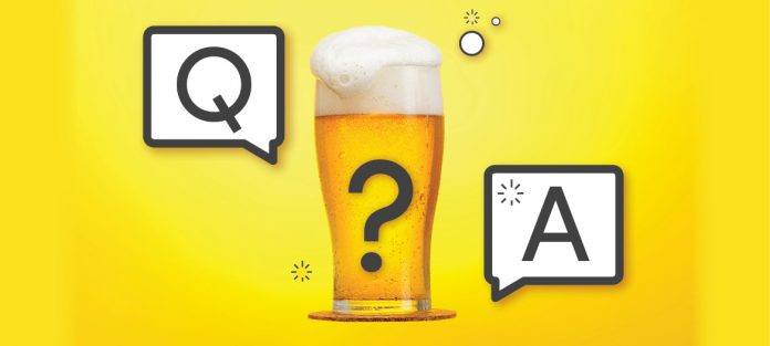 Beer with question mark and a