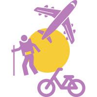 Airplane, hiker, bike