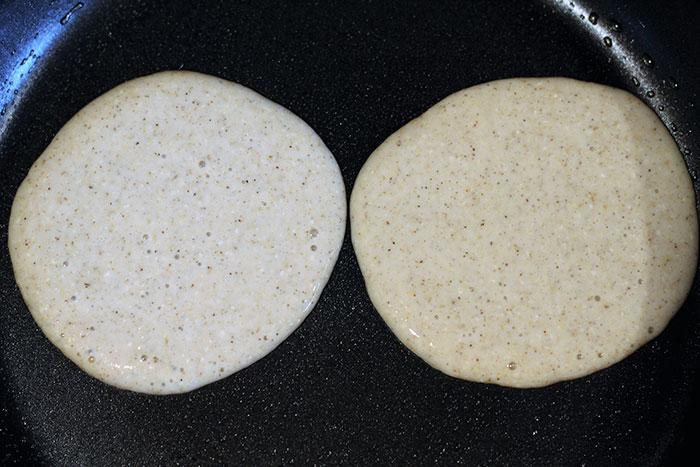 Pancakes on frying pan
