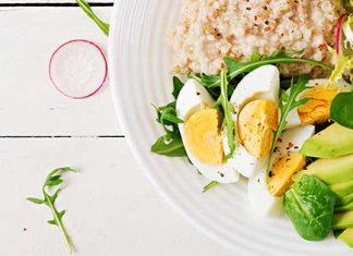 Healthy breakfast plate of eggs, avocado, and oatmeal