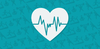 Heart icon on top of teal background