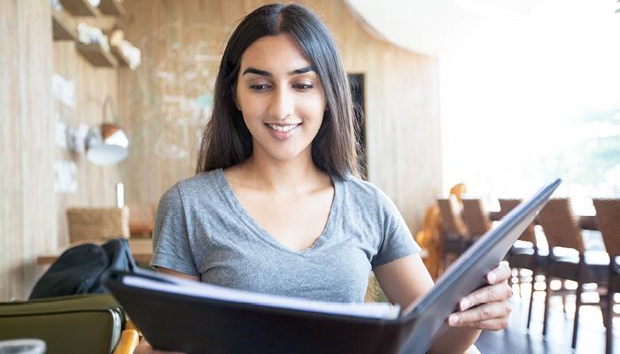 teen reading menu