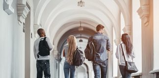 Students walking in a hallway