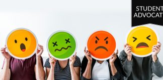 Student advocate: four people holding up emoji faces