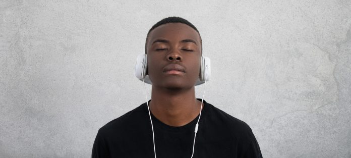 relaxed male with headphones