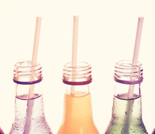 Colored bottles with straws