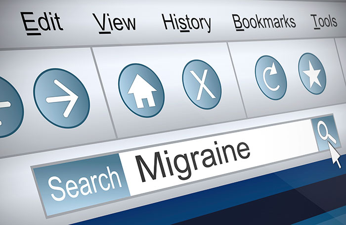 """Online search engine searching """"Migraine"""""""