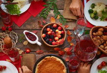 Table of festive holiday meal