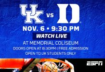 UK vs. Duke - Watch live at Memorial Coliseum - Doors open at 8:30pm - Free Admission - Open to UK Students Only