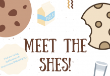 white background with cookies scattered around the edges. The text is in brown and blue and is the memo.