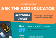 orange and teal background with Septembertopics for meet the AOD Educator listed