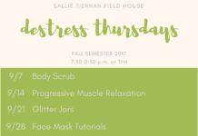 DeStress Thursdays Schedule
