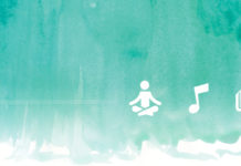 Teal watercolor with 3 icons: meditation, music, writing