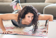 Woman doing pushups at home
