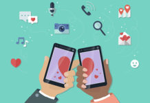 Online dating illustration with mobile devices
