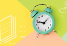 clock on colorful background