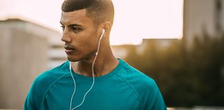 focused active male with headphones | how to get into flow state