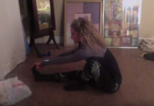 Eliza stretching bedroom floor