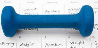 Small weight on top of workout calendar