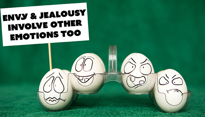 "4 eggs with emotional faces holding sign ""envy & jealousy involve other emotions too"""