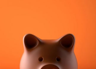 Piggy bank peering up