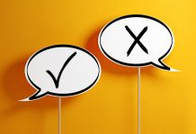 white chat bubbles including checkmark and x