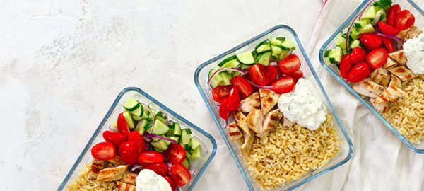 3 glass containers of prepped meals