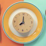 clock on a dinner plate setting | healthy dinner meal prep
