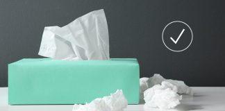 tissue box and check mark | cold or flu symptom checker