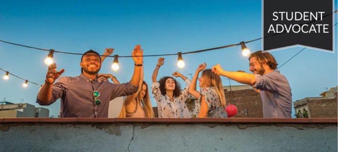 Student advocate: Group of students dancing on rooftop