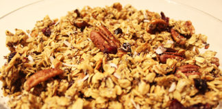 Closeup of freshly toasted granola