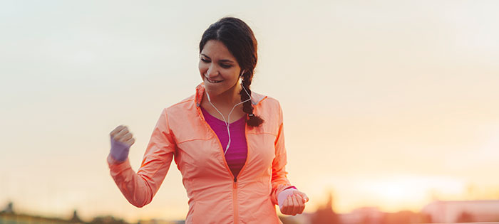 Running girl, feeling accomplished