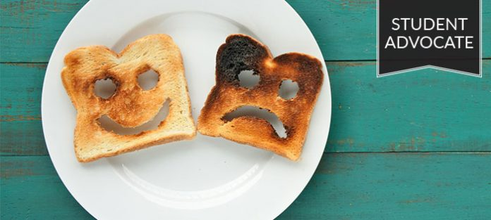 Student advocate: two pieces of toast on plate, one is burnt