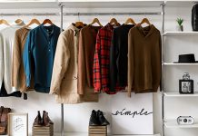 simple modern wardrobe with hanging garments | the benefits of eco-friendly fashion