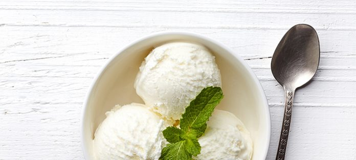 bowl of vanilla ice cream with spoon on the side | mindful eating meditation