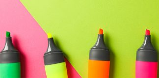 neon colored highlighters | color coding notes